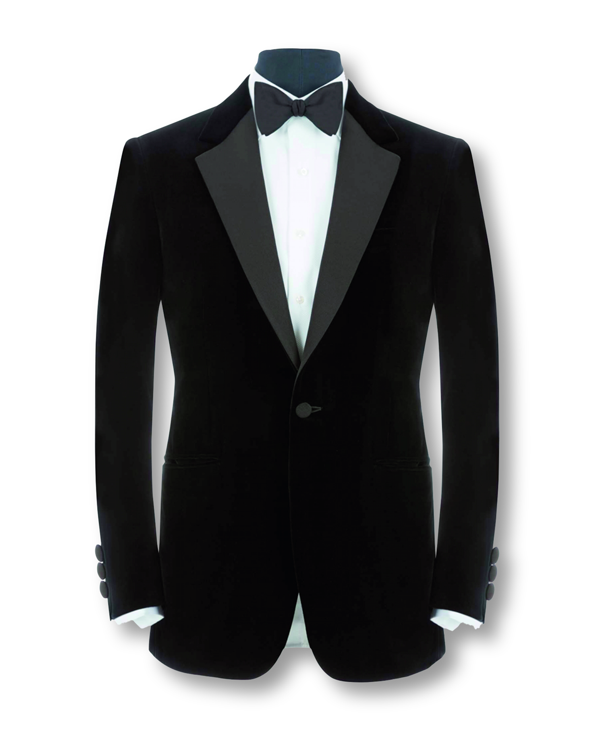 HUNTSMAN BLACK SILK VELVET EVENING JACKET